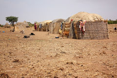 Capanne africane del villaggio Fotografia Stock