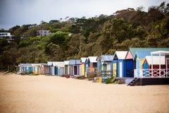 Capanne australiane della spiaggia fotografia stock