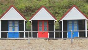 Capanne britanniche della spiaggia Immagini Stock Libere da Diritti