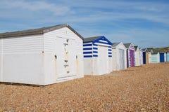Capanne britanniche della spiaggia, Sussex Fotografia Stock
