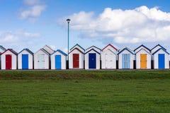 Capanne Colourful della spiaggia Immagine Stock