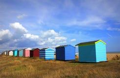 Capanne Colourful Littlestone Risonanza Regno Unito della spiaggia Fotografia Stock Libera da Diritti