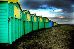 Capanne della spiaggia BRITANNICHE fotografia stock libera da diritti