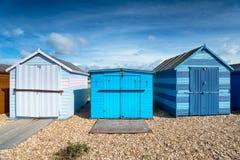 Capanne della spiaggia dell'isola di Hayling Fotografie Stock