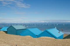 Capanne della spiaggia di Abersoch. Fotografie Stock
