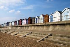 Capanne della spiaggia di Felixstowe fotografie stock