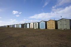 Capanne della spiaggia a Dovercourt, Essex, Inghilterra Fotografia Stock