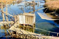 Capanne di pesca su porto Milena vicino alla città di Dulcigno, Montenegro Fotografie Stock Libere da Diritti