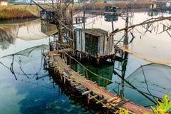 Capanne di pesca su porto Milena vicino alla città di Dulcigno, Montenegro Fotografie Stock