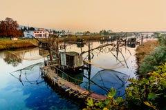 Capanne di pesca su porto Milena vicino alla città di Dulcigno, Montenegro Immagini Stock Libere da Diritti