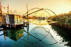 Capanne di pesca su porto Milena vicino alla città di Dulcigno, Montenegro Immagini Stock