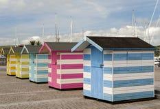 Capanne di Wodden al porto di Falmouth immagine stock
