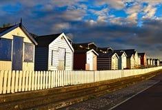 Capanne inglesi della spiaggia Fotografia Stock