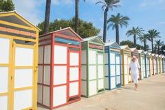 Capanne variopinte della spiaggia Fotografia Stock Libera da Diritti