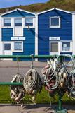 Capanne variopinte di pesca - Heligoland/Helgoland immagini stock