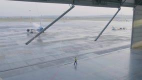 Capannone per gli aerei con il grande portone aperto al giorno di estate soleggiato Il capannone del grande aereo apre i portoni stock footage