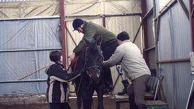 In capannone speciale, un giovane uomo disabile, con l'arto artificiale impara montare un cavallo con gli insegnanti della strett archivi video