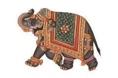 Caparisoned elephant. On parade.Indian miniature painting on 19th century paper. Udaipur, India stock photos