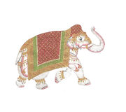 Caparisoned elephant. On parade.Indian miniature painting on 19th century paper. Udaipur, India Royalty Free Stock Images