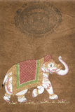 Caparisoned elephant on parade Royalty Free Stock Photo