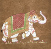 Caparisoned elephant on parade, Royalty Free Stock Photo