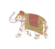 Caparisoned elephant on parade. Indian miniature painting on 19th century paper. Udaipur, India Royalty Free Stock Photo