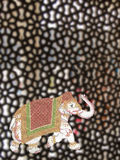 Caparisoned elephants. Intricate marble filigree screen, Tomb of Islamic Saint Salim Chisti, Fatepuhr Sikri, Agra, India, South Asia Stock Image