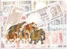Caparisoned elephants vector illustration