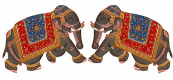 Caparisoned elephants on parade. Indian miniature painting on 19th century paper. Udaipur, India Royalty Free Stock Photo
