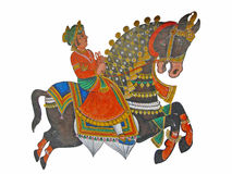 Caparisoned horse on parade. Painted on palace walls  Udaipur, India Stock Photos