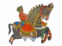 Caparisoned Pferd auf Parade. lizenzfreie abbildung