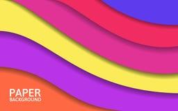 Capas coloridas abstractas Formas del corte del papel Diseño brillante para el sitio web o el cartel Contexto moderno Ilustración Fotografía de archivo libre de regalías