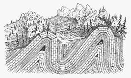 Capas de concepto de las placas tectónicas Litosfera y la estructura de la tierra Suelo y piedra caliza Geología de la geografía stock de ilustración