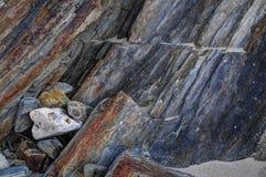Capas de las rocas metamórficas Foto de archivo libre de regalías