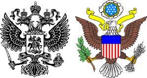 Capas de los brazos Rusia y los E.E.U.U. Foto de archivo libre de regalías