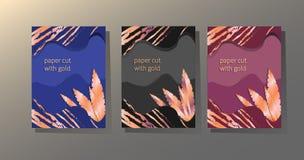 Capas de papel y de follaje de oro ilustración del vector