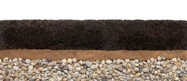 Capas del suelo: humus, arcilla y piedras aisladas en el fondo blanco imagen de archivo