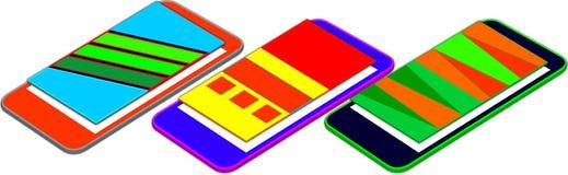 Capas flotantes móviles de la presentación 3D del app del web encima de la pantalla móvil Imagen de archivo libre de regalías