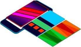 Capas flotantes móviles de la presentación 3D del app del web encima de la pantalla móvil Foto de archivo libre de regalías
