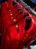 Capas rojas de la hembra del otoño Foto de archivo libre de regalías
