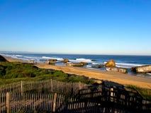 Capbreton beach bunkers royalty free stock photography