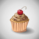 Capcake Chocolate. Hand draw. Vector illustration Sweet Royalty Free Stock Photos