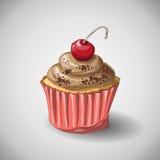 Capcake choklad akvareller för drawhandpapper stock illustrationer