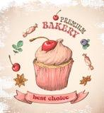 Capcake dolce con crema Metta dalle carte di vettore Immagine Stock