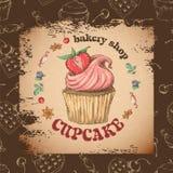 Capcake dolce con crema Metta dalle carte di vettore Fotografie Stock Libere da Diritti