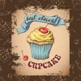 Capcake dolce con crema Metta dalle carte di vettore Fotografia Stock Libera da Diritti
