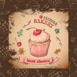 Capcake dolce con crema Metta dalle carte di vettore Fotografia Stock