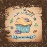Capcake dolce con crema Metta dalle carte di vettore Immagini Stock