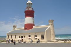 Cape Agulhas Lighthouse. Is situated at the point where the agulhas meets the benguela Royalty Free Stock Photography