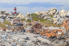 Lighthouse Cape Agulhas in South Africa. stock images